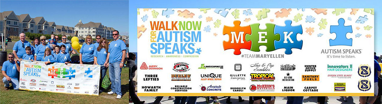 Banners displayed during the Autism Walks event in Long Branch, NJ for Team MEK