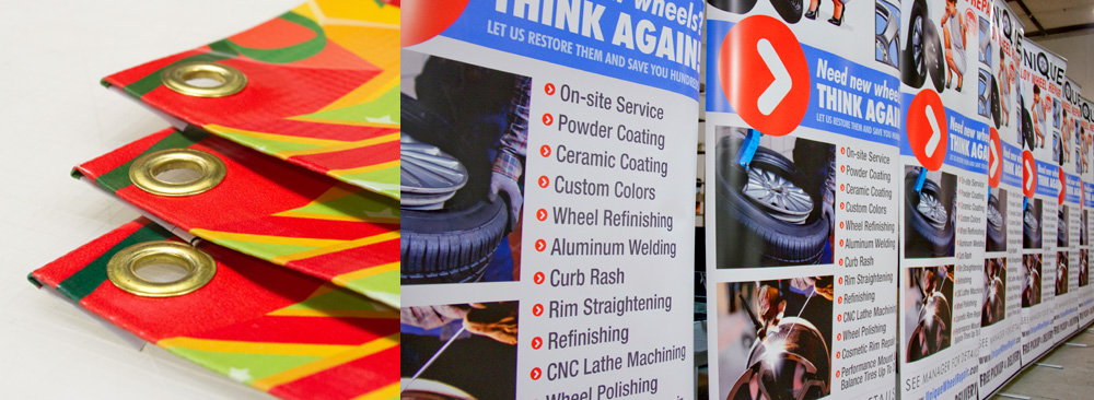 Banners showing their versatile display options such as grommets for hanging or retractable display stands