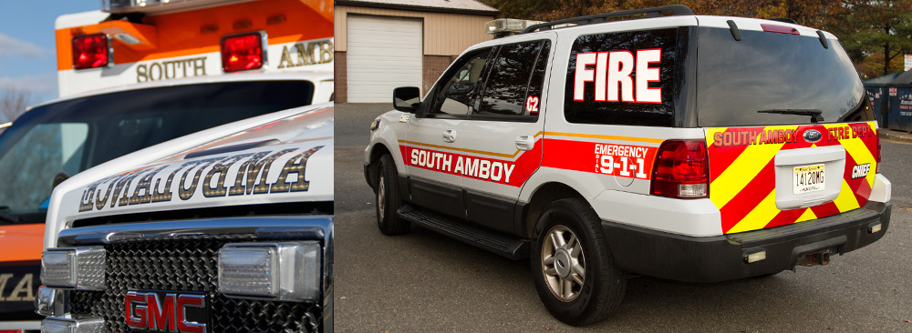 Emergency & safety vehicles shown with reflective graphics