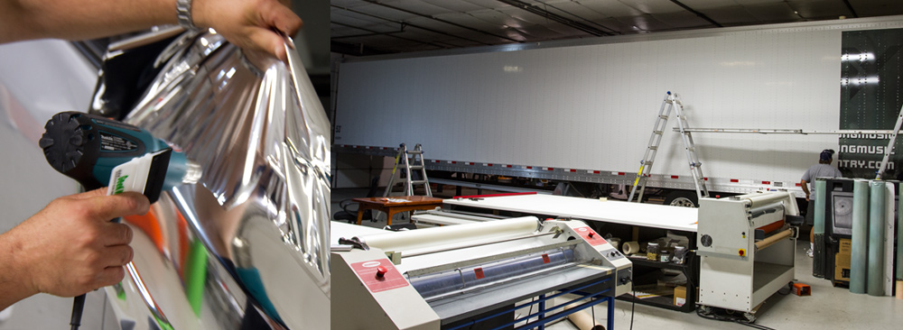 Graphic installation being done at Printed Pixel, Inc.