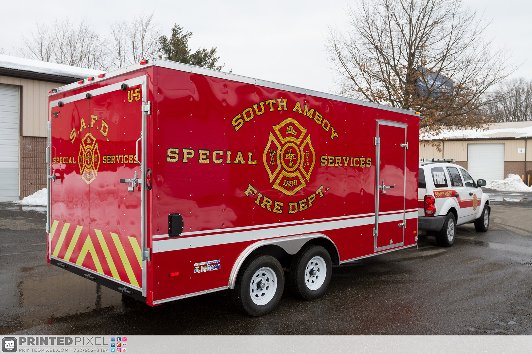 South Amboy Fire Department - Special Services Trailer. Reflective chevrons with engine turned gold overlays.